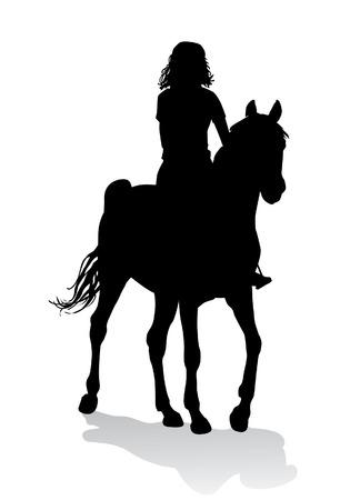 silueta humana: Muchacha que monta un caballo. Paseos a caballo a pie.