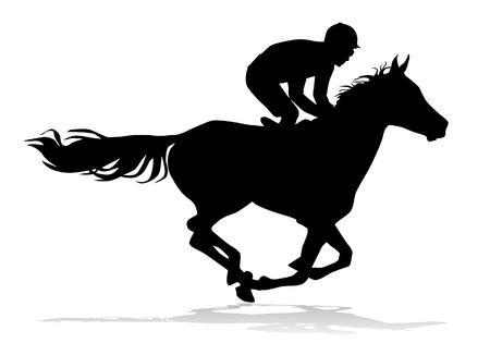 Jockey op een paard. Paardenrennen. Concurrentie. Stock Illustratie
