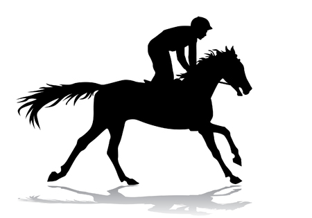 animal silhouette: Jockey riding a horse. Horse races. Competition. Illustration
