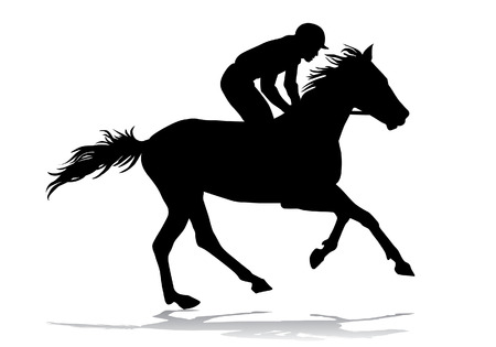 transportation silhouette: Jockey riding a horse. Horse races. Competition. Illustration