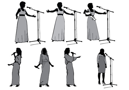 stardom: Girls singing with a microphone on the stage Illustration