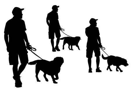 Ein Mann an der Leine mit einem Hund zu Fuß. Silhouette auf einem weißen Hintergrund.