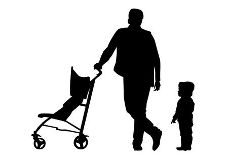 Vater zu Fuß mit einem Baby im Kinderwagen.