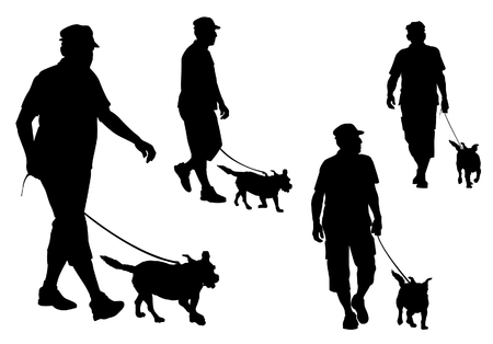silueta hombre: Un hombre que camina con un perro con una correa. Silueta sobre un fondo blanco.