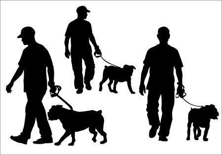 marcheur: Un homme marchant avec un chien en laisse. Silhouette sur un fond blanc. Illustration