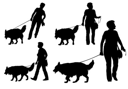 dog leash: A woman walking with a dog on a leash. Silhouette on a white background. Illustration
