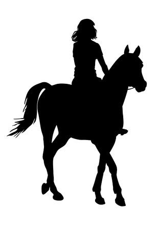 Girl riding a horse. Horse riding walk. Illustration