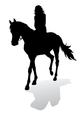 馬に乗る少女。馬乗馬散歩。白の背景にシルエット。
