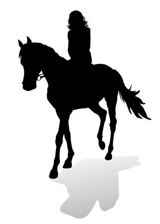 femme a cheval: Fille à cheval. Promenades à cheval à pied. Silhouette sur un fond blanc.