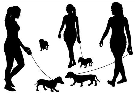 ひもにつないで犬と歩いている少女。白の背景にシルエット。  イラスト・ベクター素材