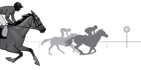 hippodrome: Horse Racing. Competition. Horse racing at the racetrack. Black silhouettes on white background,