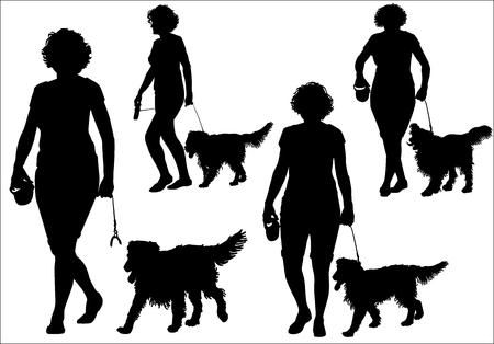 A woman walking with a dog on a leash. Silhouette on a white background. Vektoros illusztráció
