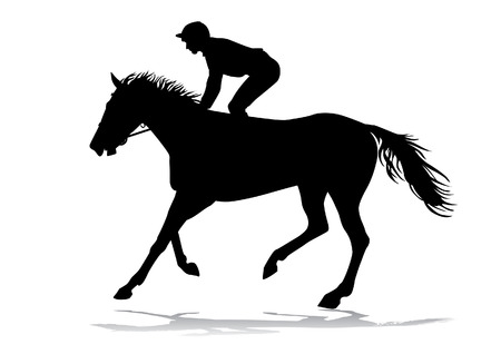 Jockey Riding A Horse Races Competition Silhouettes On White Background