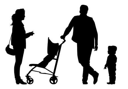 Family with baby and pram on a walk. Man, woman and child. Silhouettes on a white background. Illustration