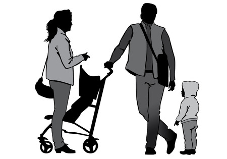 non urban: Family with baby and pram on a walk. Man, woman and child. Silhouettes on a white background. Illustration