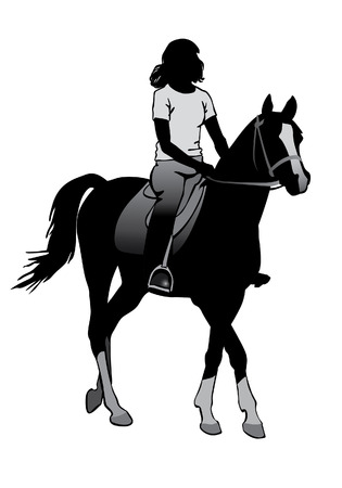 riding horse: Girl riding a horse. Horse riding walk. Illustration