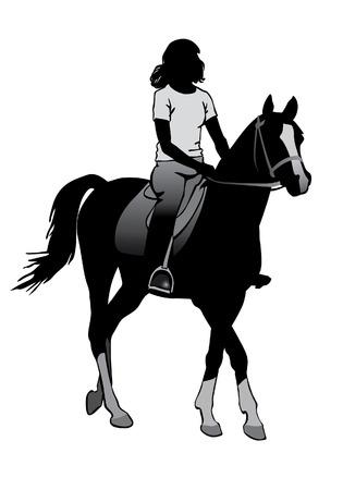 Meisje op een paard. Paardrijden wandeling.