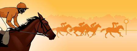 Paardenracen. Wedstrijd. Paardenraces op de renbaan. Silhouetten van de ruiters op een gekleurde achtergrond. kleurenbeeld