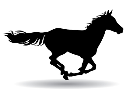 A horse gallops fast, illustration silhouette on a white background Stock Illustratie