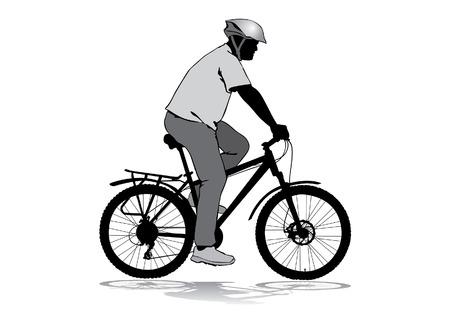 Man met een fiets. Een man in een helm rijden op een fiets. Silhouet op een witte achtergrond Stock Illustratie