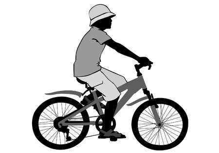 Een jongen rijdt op een fiets op een wandeling. Silhouet op een witte achtergrond. Stock Illustratie