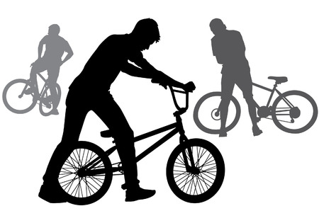 A boy rides a bicycle on a walk.  Silhouette on a white background. Illustration