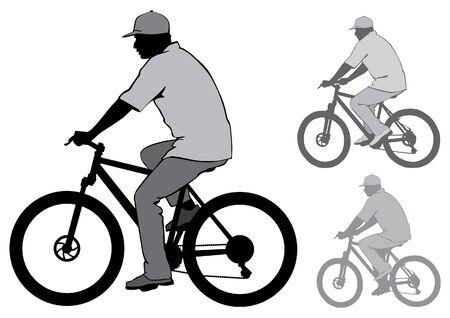 De man in de dop rijden op een fiets. Silhouet op een witte achtergrond