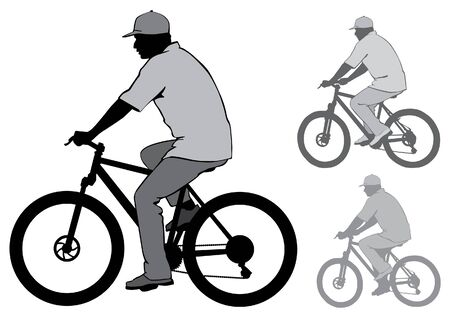 mtb: The man in the cap riding a bike. Silhouette on a white background