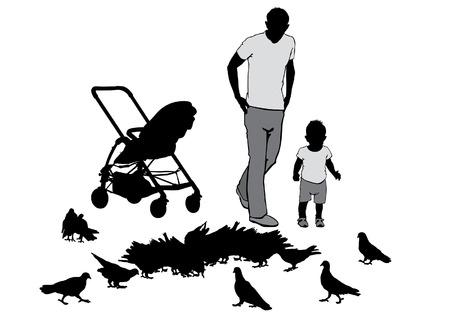 Vader loopt met de baby in de kinderwagen. Ze voeden de duiven