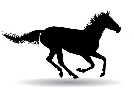 Een paard galoppeert snel illustratie silhouet op een witte achtergrond