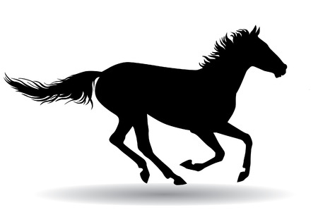 A horse gallops fast illustration silhouette on a white background