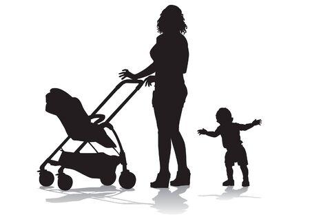 Moeder loopt met de kinderen en een kinderwagen voor een wandeling Het kind leert lopen. Silhouet op een witte achtergrond.