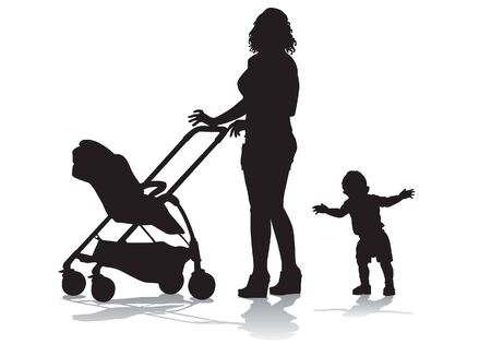 Mother walks with the kids and a stroller for a walk The child learns to walk. Silhouette on a white background.