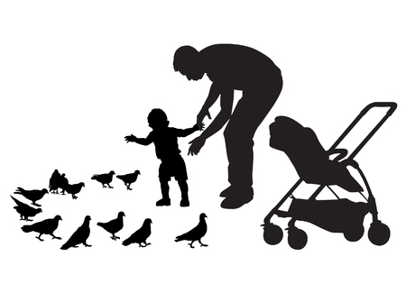 Father walks with the baby in the stroller. They feed the pigeons. The child learns to walk. Father protects the child. Silhouette on a white background.