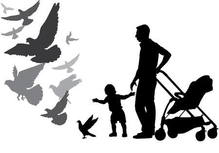 Vader loopt met de baby in de kinderwagen. Ze voeden de duiven. Het kind leert lopen. Vader beschermt het kind. Silhouet op een witte achtergrond.