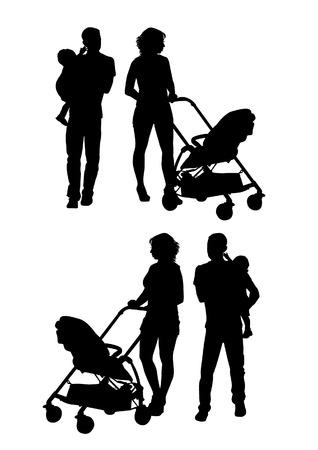 Gezin met baby en kinderwagen op een wandeling. Man, vrouw en kind. Silhouetten op een witte achtergrond.