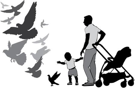 De vader loopt met de baby in de kinderwagen. Ze kijken en voeden de duiven. Het kind leert lopen. Een kind gaat voor een duif. Duiven vliegen. Silhouet op een witte achtergrond.
