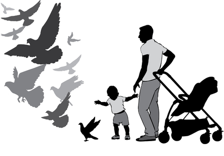 The father walks with the baby in the stroller. They watch and feed the pigeons. The child learns to walk. A child goes for a pigeon. Pigeons fly. Silhouette on a white background. Illustration