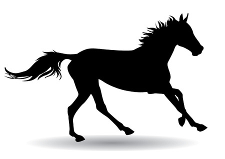 Een paard galoppeert snel, illustratie silhouet op een witte achtergrond