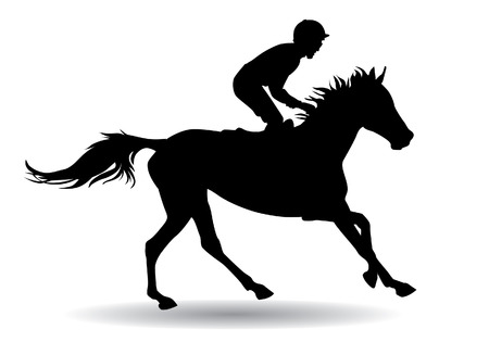 Jockey riding a horse. Horse races. Competition. Illustration