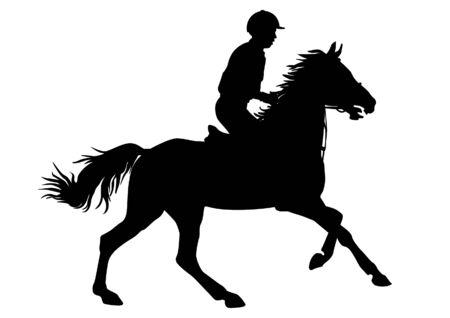 Rijder. Jockey berijden van een paard. Paardenraces. Wedstrijd. Silhouetten op een witte achtergrond. Stock Illustratie