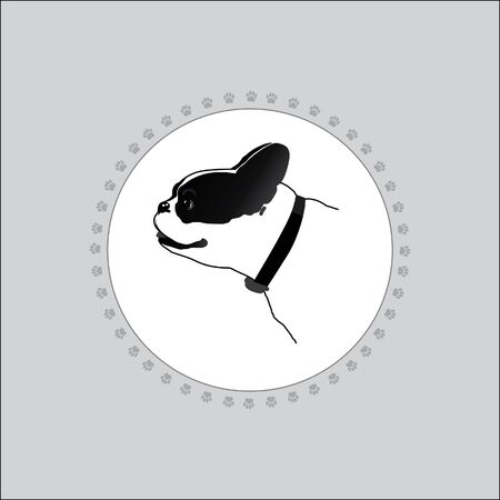 Dog is white with black spots.  the head of a dog. Frame made of dog tracks. Silhouette on a white background.