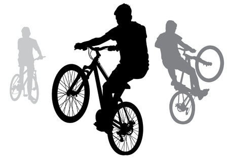 The boys went for a walk on the bike. Teenagers doing tricks on bikes. Silhouette on a white background. Illustration