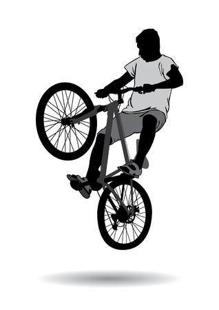 De jongen ging voor een wandeling op de fiets. Tiener maken trucs op een fiets. Silhouet op een witte achtergrond.