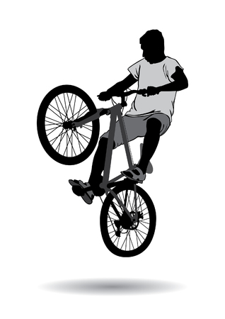 The boy went for a walk on the bike. Teenager making tricks on a bicycle. Silhouette on a white background.