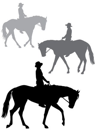 Boy riding a horse. Horse riding walk. Silhouette on a white background.