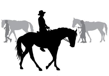 Jongen rijdt op een paard. Paardrijden wandeling. Silhouet op een witte achtergrond. Stock Illustratie