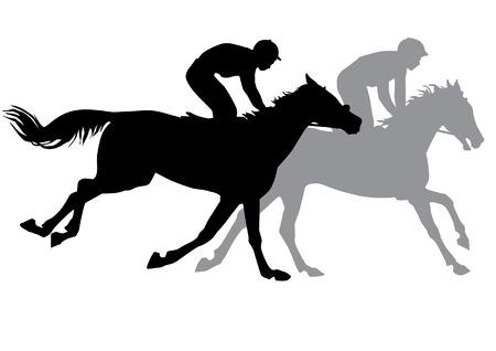 Twee jockeys die paarden berijden. Paardenraces. Wedstrijd. Silhouetten op een witte achtergrond. Stock Illustratie