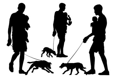 Vader en kind met een hond loopt. Vader draagt het kind in haar armen. Ze lopen met de hond. Silhouet op een witte achtergrond. Stock Illustratie