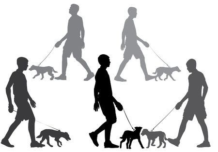 leash: A man walking with a dog on a leash. Silhouette on a white background.